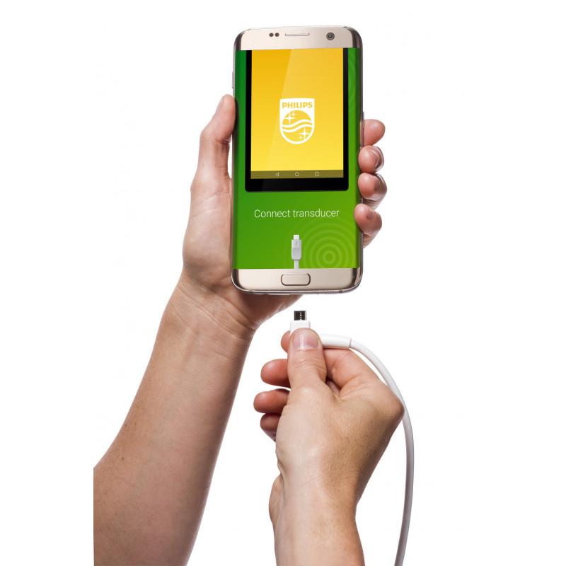 Exemple d'interface mobile de sonde échographique Lumify à brancher sur téléphone